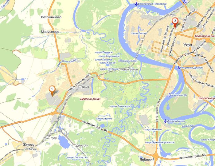 Схема проезда на Яндекс картах
